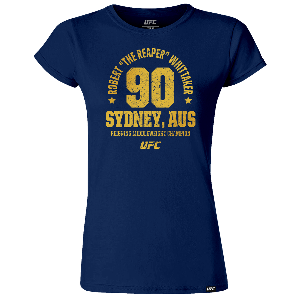 "Women's Robert ""The Reaper"" Whittaker Auckland, NZ Established 90 UFC T-Shirt- Navy"