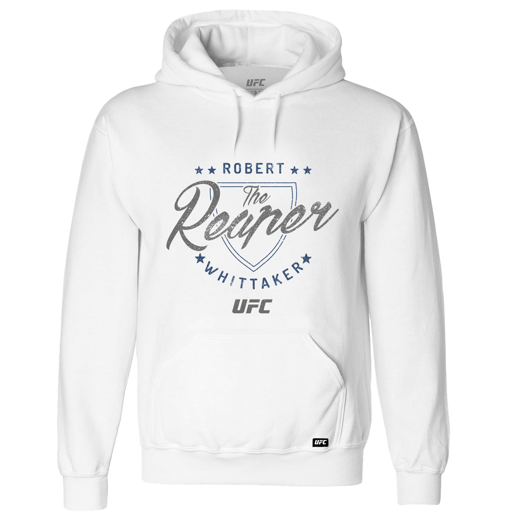"Men's Robert ""The Reaper"" Whittaker Shield UFC Hoodie- White"