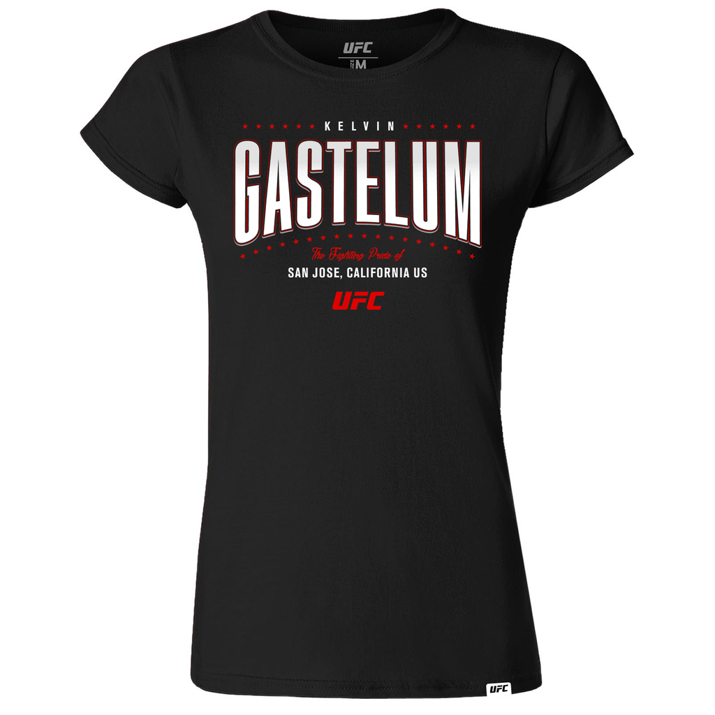 Women's Kelvin Gastelum Fighting Pride UFC T-Shirt- Black