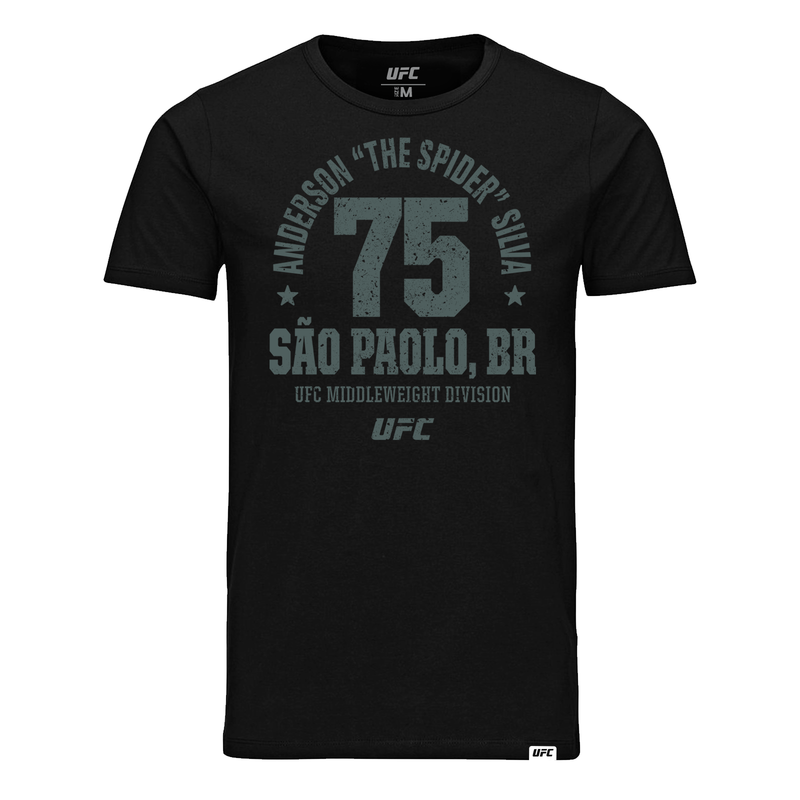 "Men's Anderson ""The Spider"" Silva Sao Paolo, BR Established 75 UFC T-Shirt- Black"