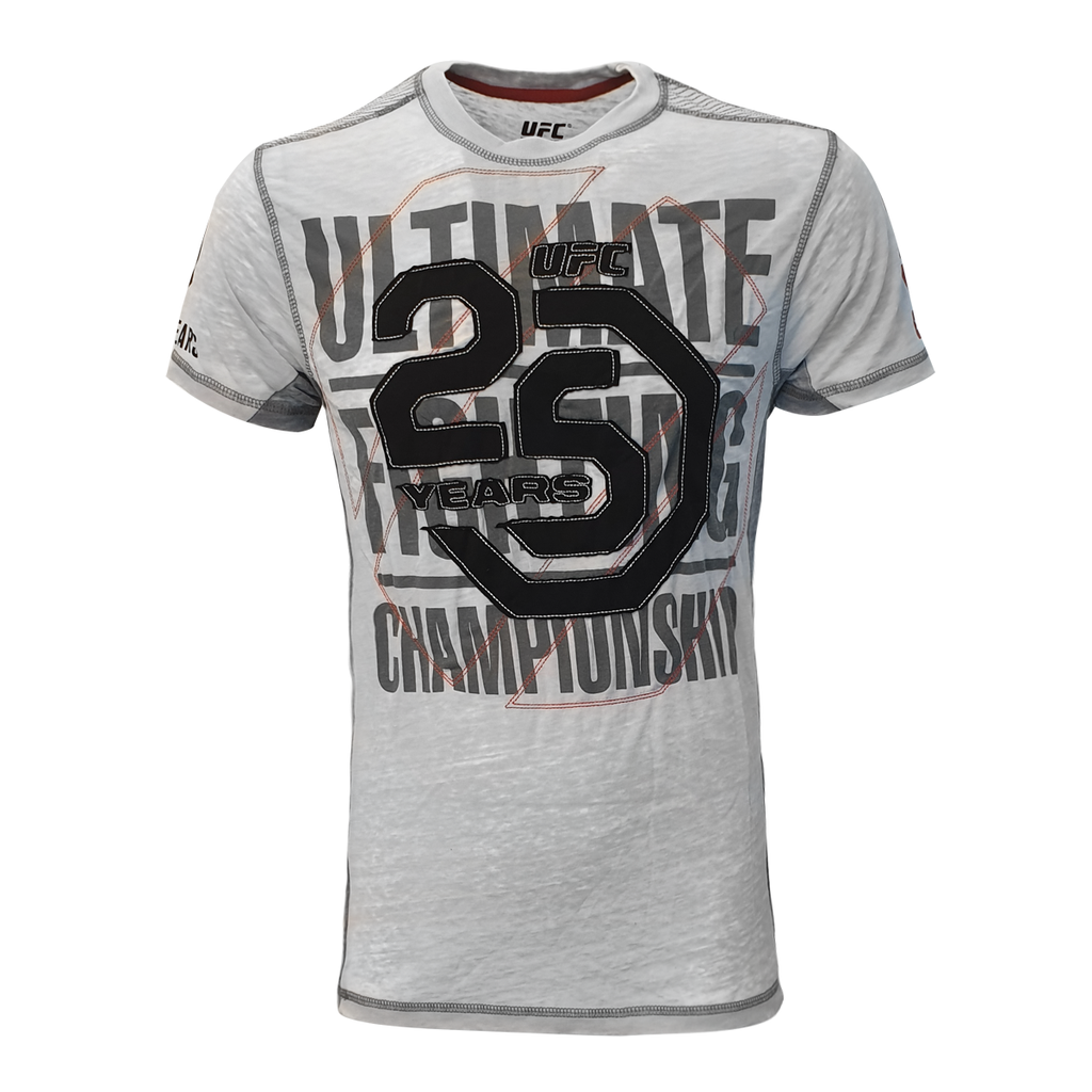 Men's UFC Ultimate Fighting Championship 25th Anniversary Applique Textile Tee - Grey