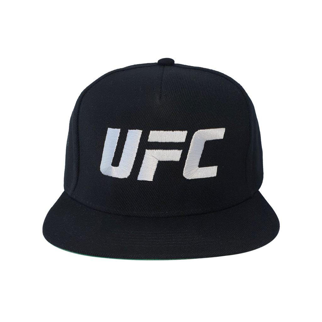 UFC Embroidered Snapback Cap With White Logo-Black