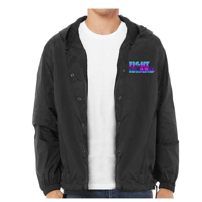 Men's UFC Fight Island Glow Coaches Hooded Jacket - Black