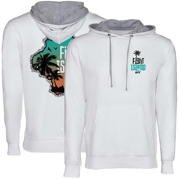Men's UFC Fight Island Contrast Hood Hoodie - White