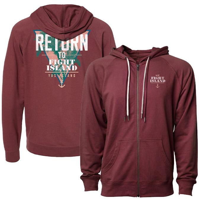 Men's UFC Fight Island Returns Tropical Full Zip Hoodie - Maroon