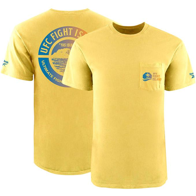 Men's UFC Fight Island Returns Reebok Garment Dyed Pocket T-Shirt - Yellow