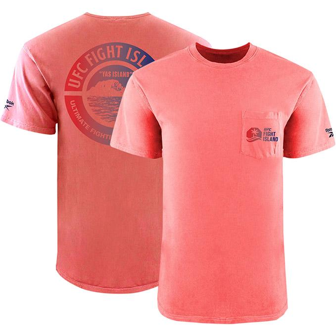 Men's UFC Fight Island Returns Reebok Garment Dyed Pocket T-Shirt - Guava