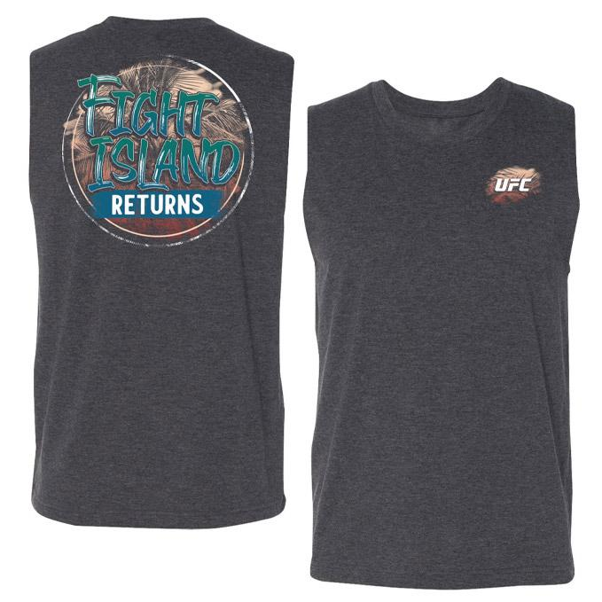 Men's UFC Fight Island Returns Tropical Muscle Tank - Grey