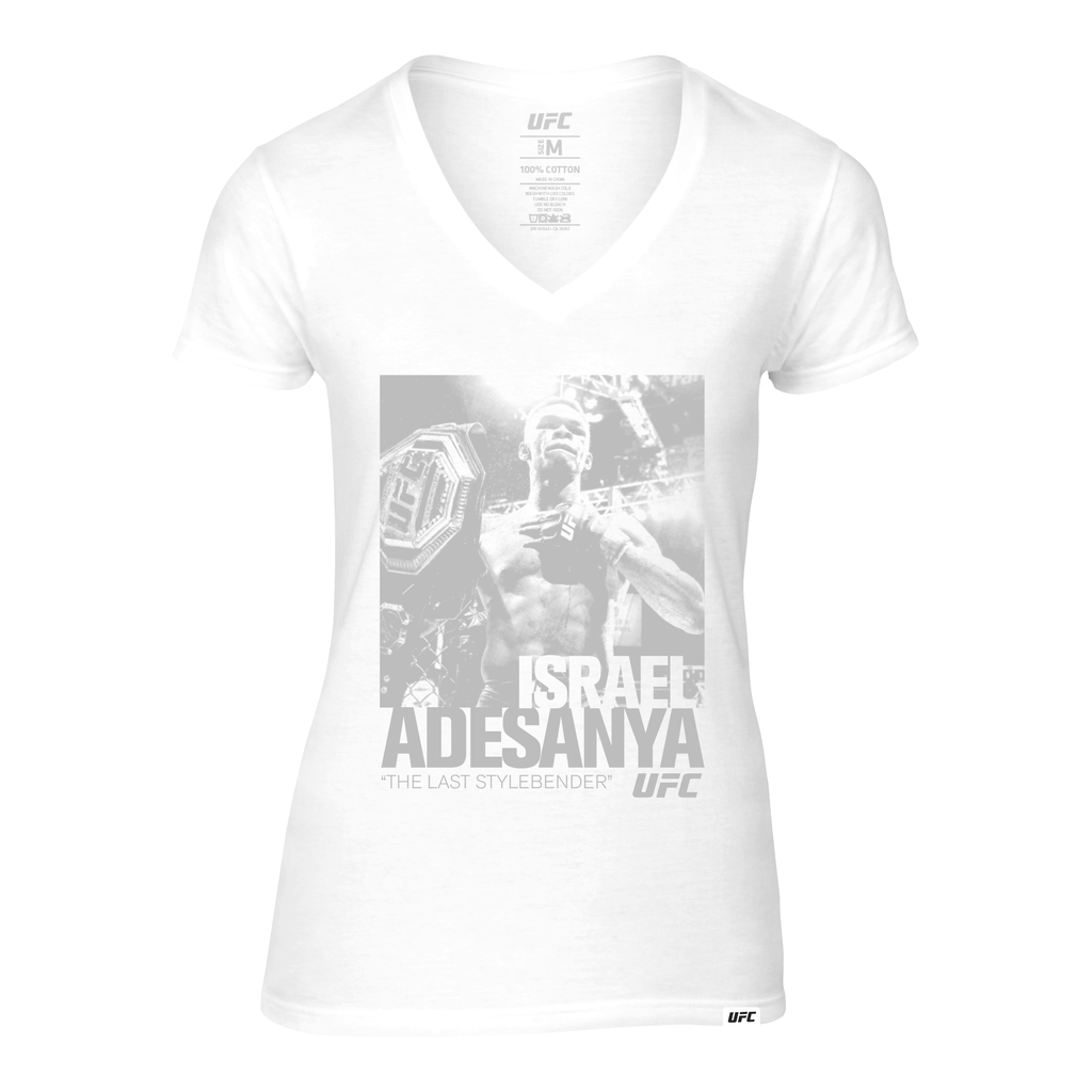 "Women's Israel ""The Last Stylebender"" Adesanya ICON Graphic V-Neck Tee-White"