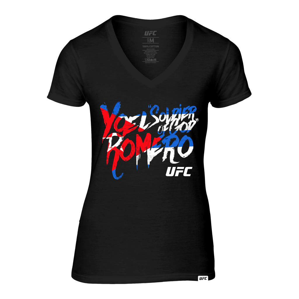 "Women's UFC Yoel ""Soldier of God"" Romero Graffiti V-Neck tee- Black"