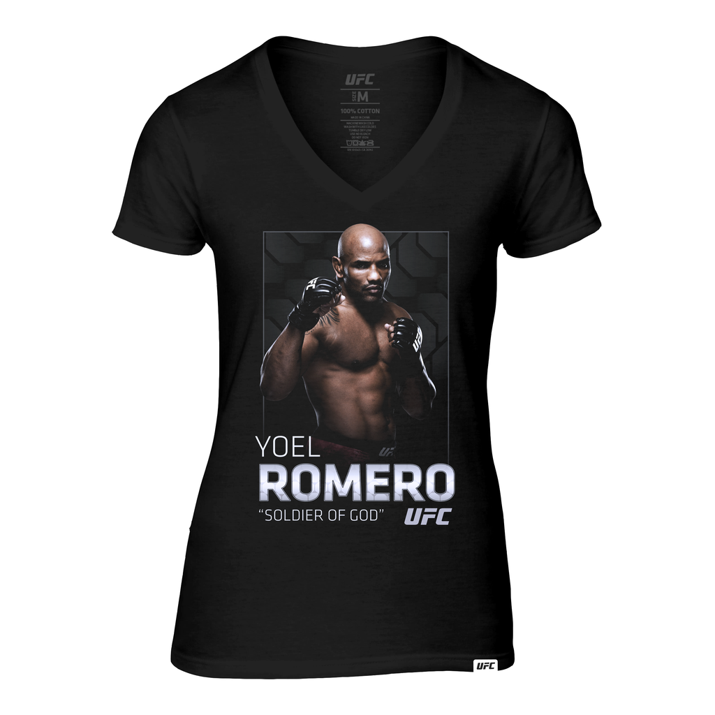 "Women's UFC Yoel ""Soldier of God"" Romero Photo V-Neck Tee- Black"
