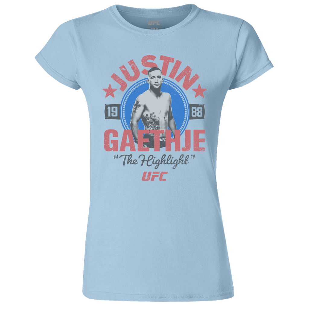"Women's UFC Justin ""The Highlight"" Gaethje Crest T-Shirt-Blue"