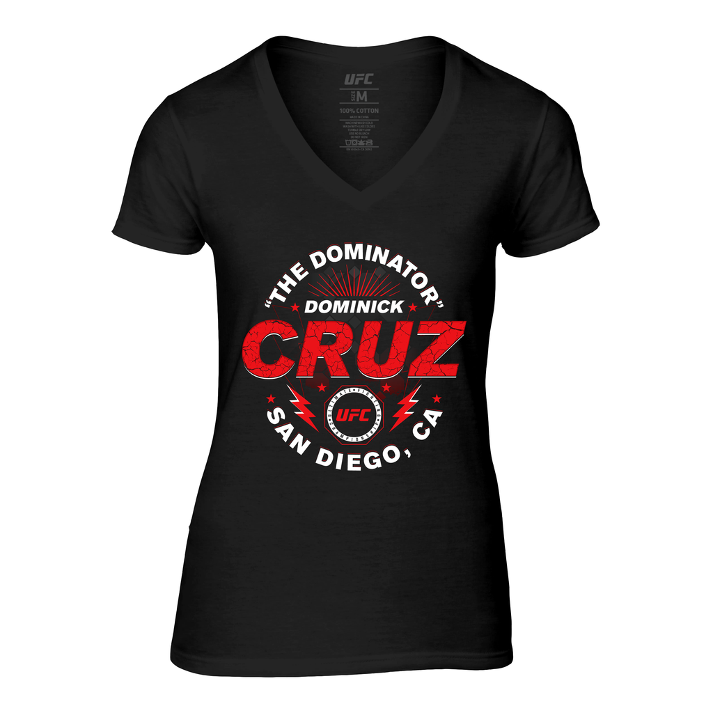 "UFC Women's Dominick ""Dominator"" Cruz Graphic V-Neck Tee - Black"