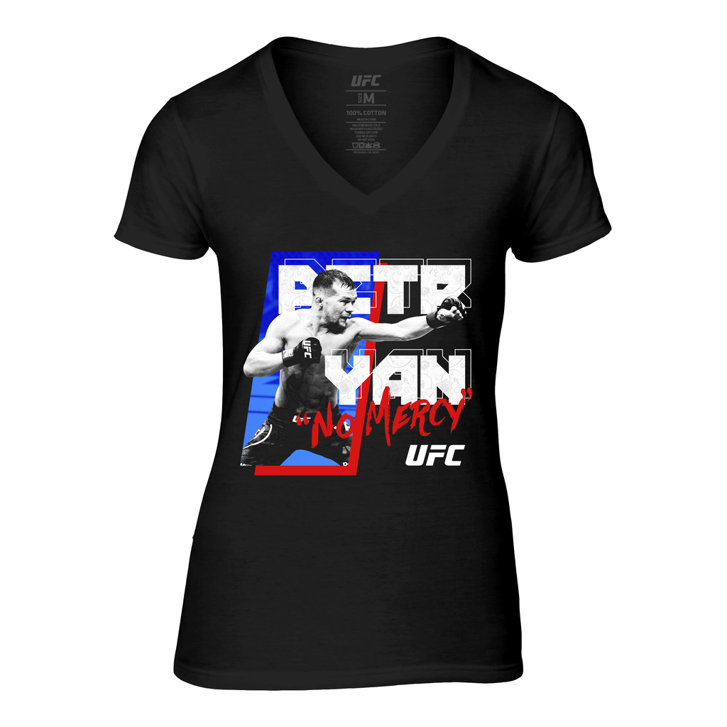 "UFC Women's Petr ""No Mercy"" Yan Graphic V-Neck Tee - Black"