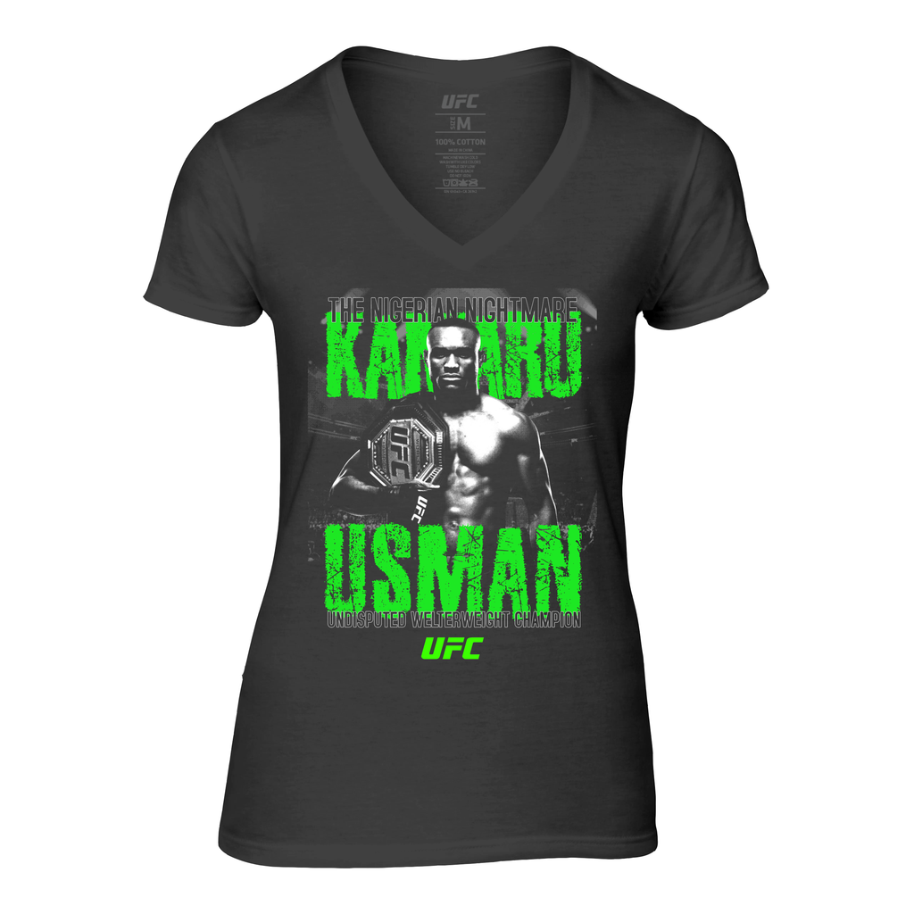 "UFC Women's Kamaru ""The Nigerian"" Usman ICON Graphic V-Neck Tee - Black"
