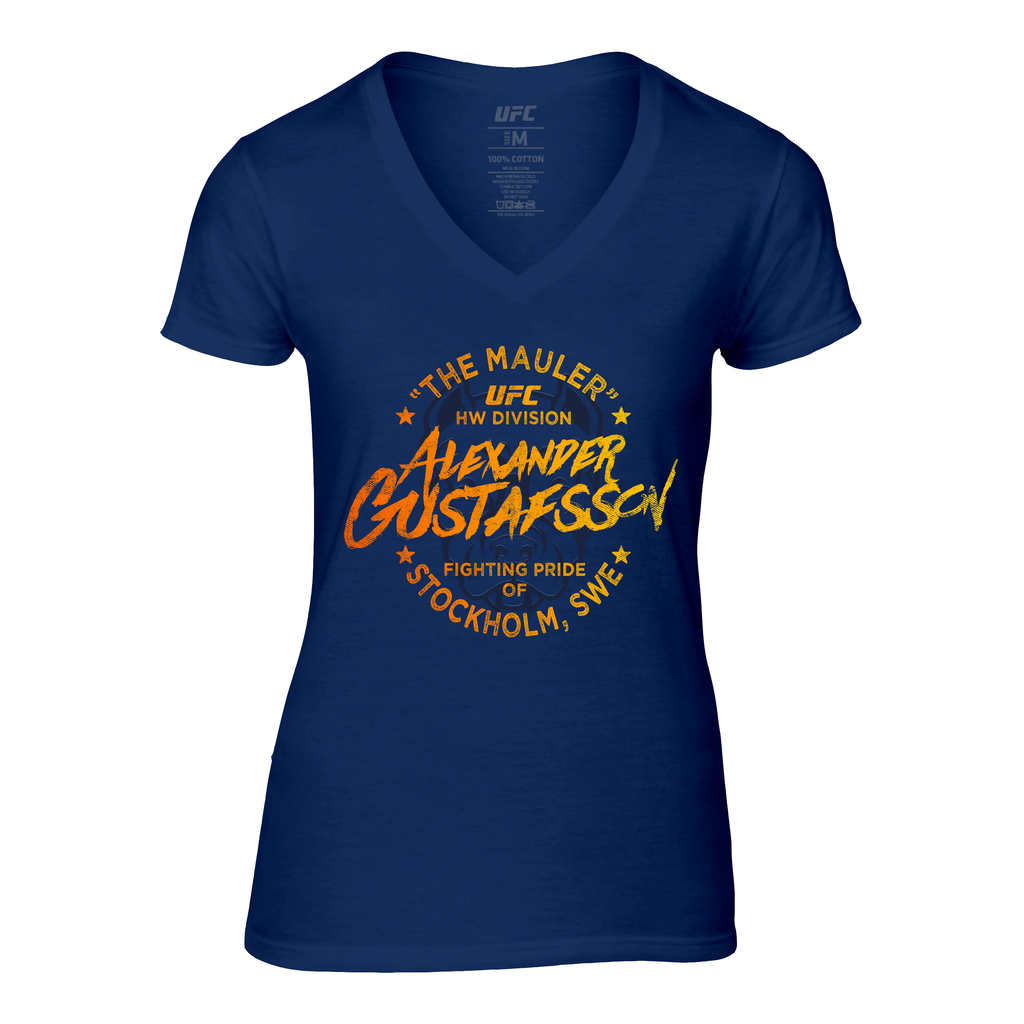 "UFC Women's Alexander ""The Mauler"" Gustafsson Pitbull V-Neck Tee-Navy"