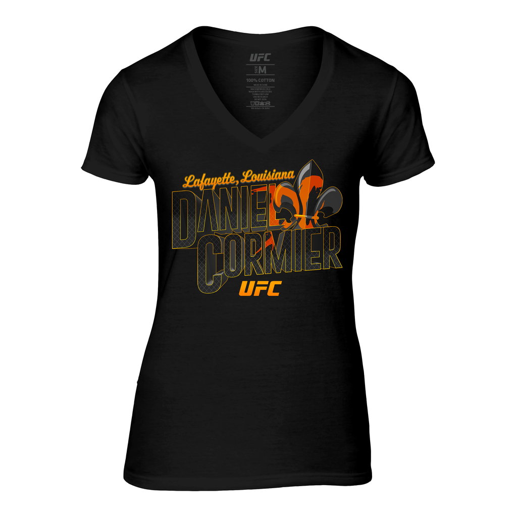 Women's UFC Daniel Cormier Graffiti V-Neck T-Shirt - Black