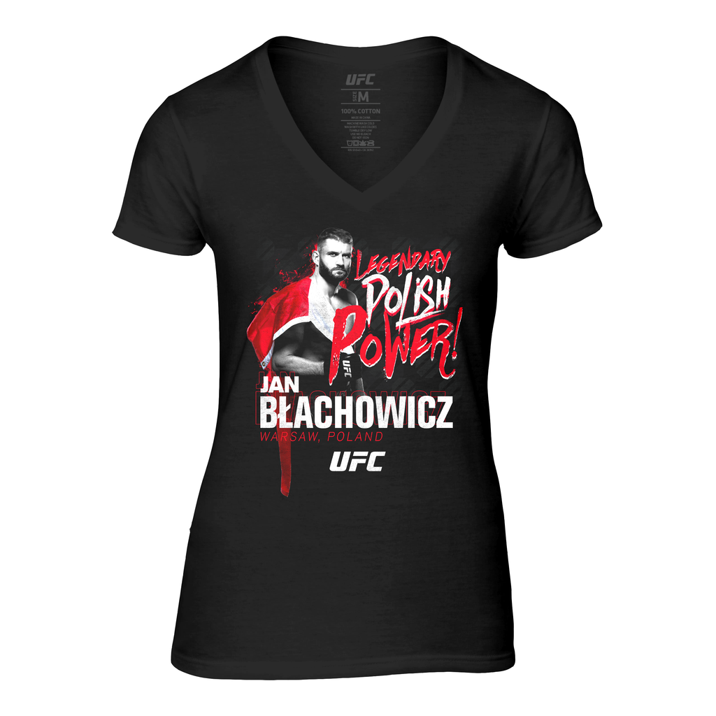 UFC Women's Jan Blachowicz Polish Power V-Neck Tee- Black