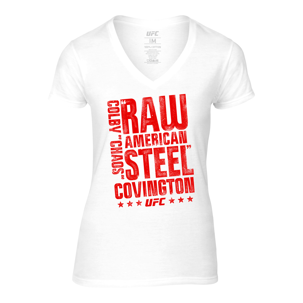 Women's UFC Colby Covington American Steel V-Neck Tee-White