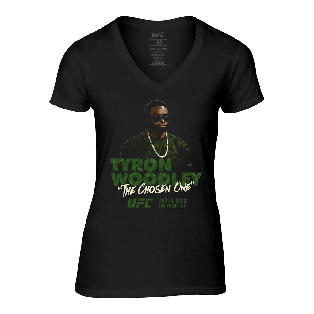 "Women's UFC Tyron Woodley ""The Chosen One"" Camo V-Neck Tee-Black"