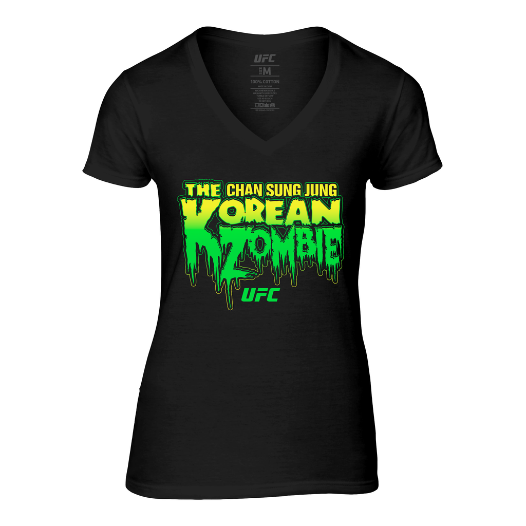 "Women's UFC Chan Sung Jung ""The Korean Zombie"" Horror V-neck T-Shirt-Black"