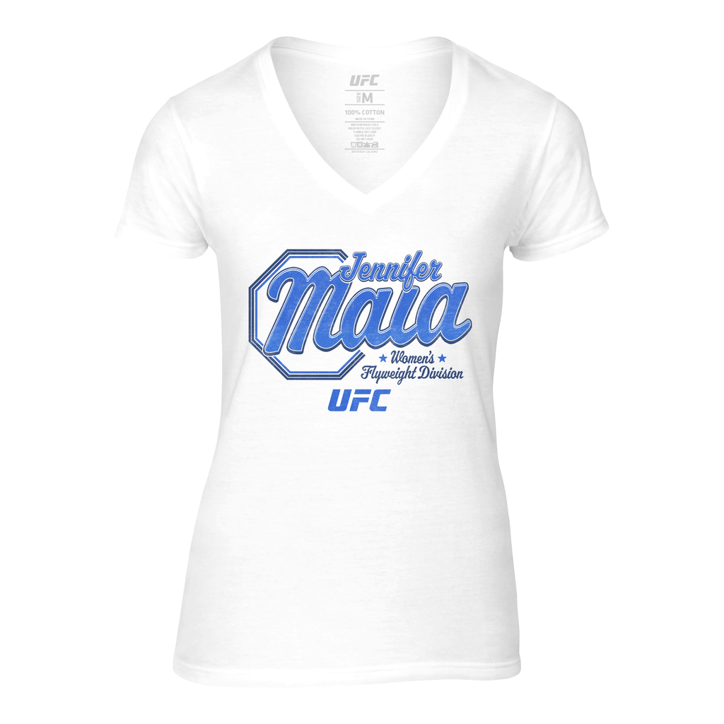 UFC Womens Jennifer Maia Script V-Neck T-Shirt - White