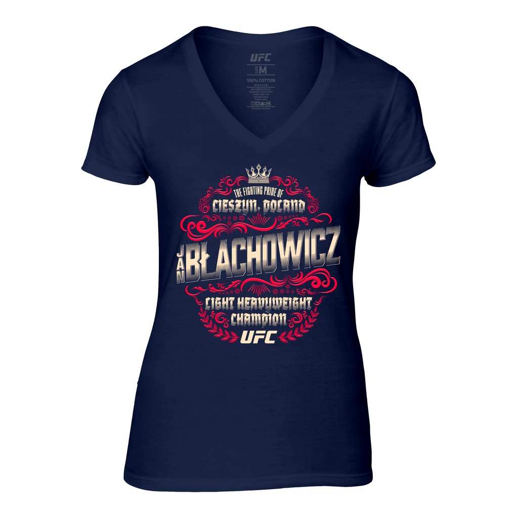 Women's Jan Blachowicz LHW Champ Crest V-Neck Tee- Navy