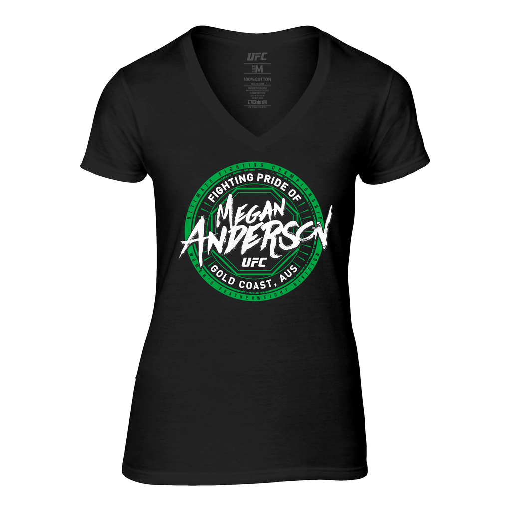Women's UFC Megan Anderson Gold Coast Crest V-Neck Tee - Black
