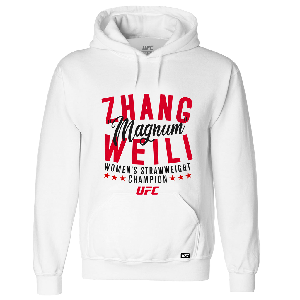 "Men's UFC Weili ""Magnum"" Zhang Women's Strawweight Champion Graphic Hoodie - White"