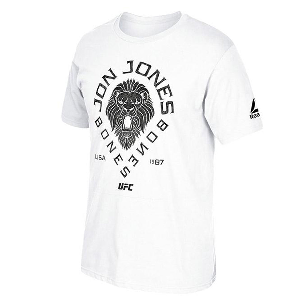 Men's Reebok Jon Jones Black Lion T-Shirt-White