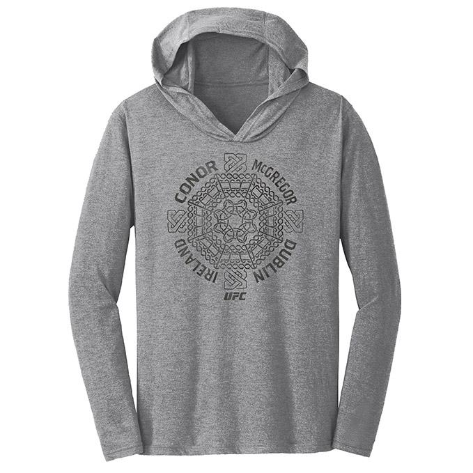 Men's Conor McGregor Celtic Cross Long Sleeve Hooded T-Shirt - Grey