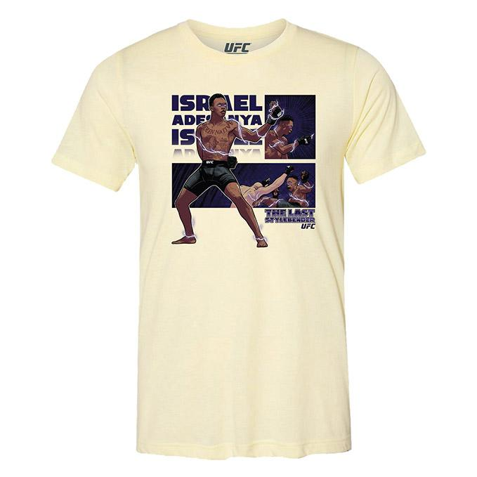 "Men's UFC Israel ""The Last Stylebender"" Adesanya Character T-Shirt - Pale Yellow Triblend"