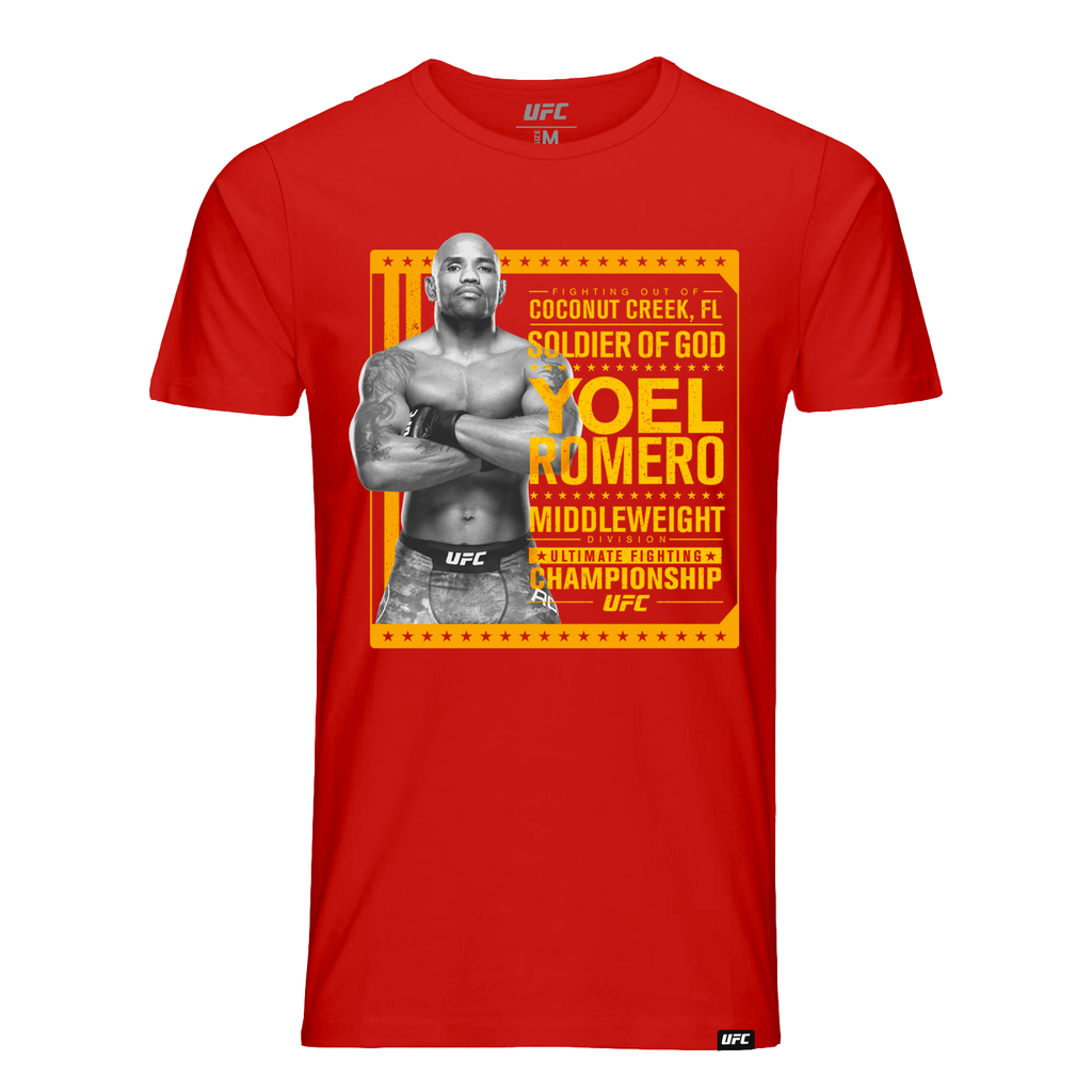 "Men's UFC Yoel ""Soldier of God"" Romero Stance T-Shirt - Red"