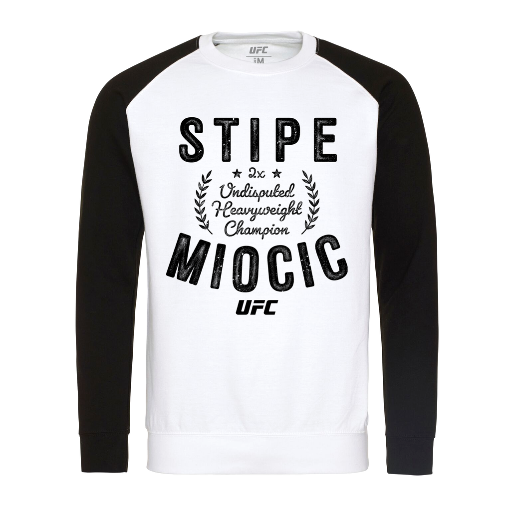 Men's UFC Stipe Miocic Undisputed Raglan Long Sleeve Tee-Black/White