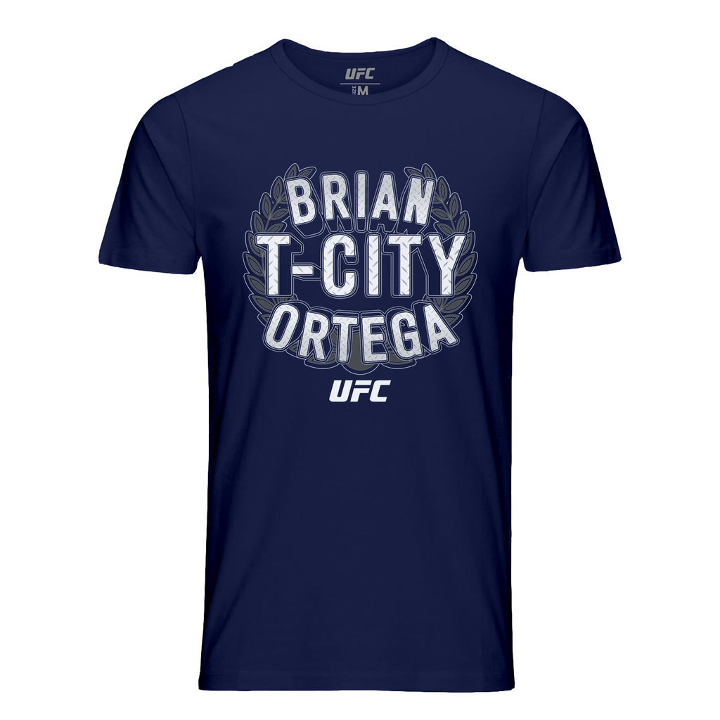 "Men's UFC Brian ""T-City"" Ortega Crest T-shirt-Navy"