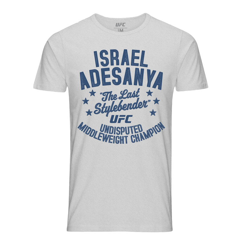 "Men's UFC Israel ""The Last Stylebender"" Adesanya Old School Champ T-Shirt - Light Grey"