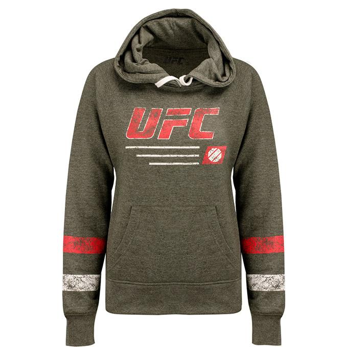 UFC Women's Stripe Pullover Hoodie -Charcoal