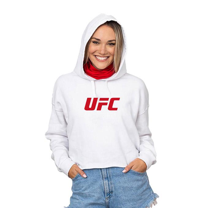 UFC Crop Hoodie with Built-In Face Cover - White