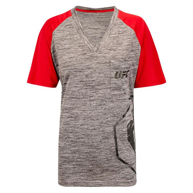 UFC Women's Raglan Pocket Tee- Charcoal - Red