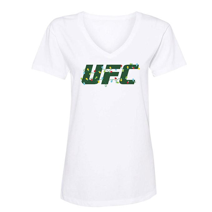 Women's UFC Holiday Lights T-Shirt - White