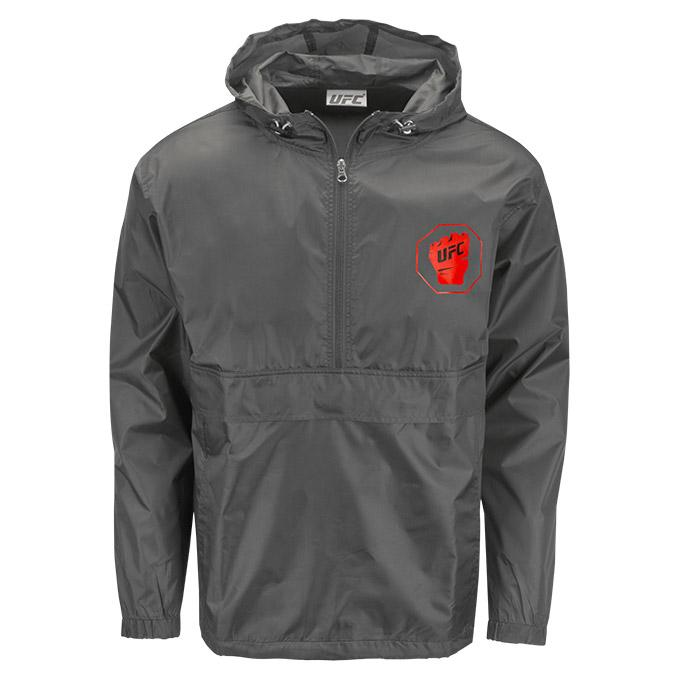 UFC Men's Packable Jacket -Charcoal
