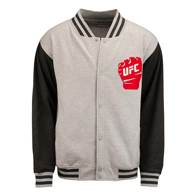 UFC Fleece Snap Jacket - Grey Heather- Charcoal