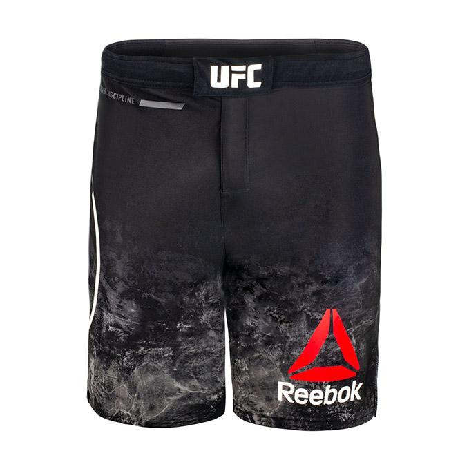 Mens Reebok UFC Fight Night Blank Octagon Long Shorts Black
