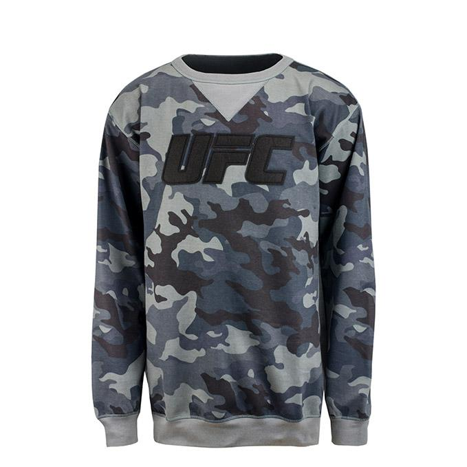 UFC Men's Camo Fleece Crew Sweatshirt -Slate Grey - Camo
