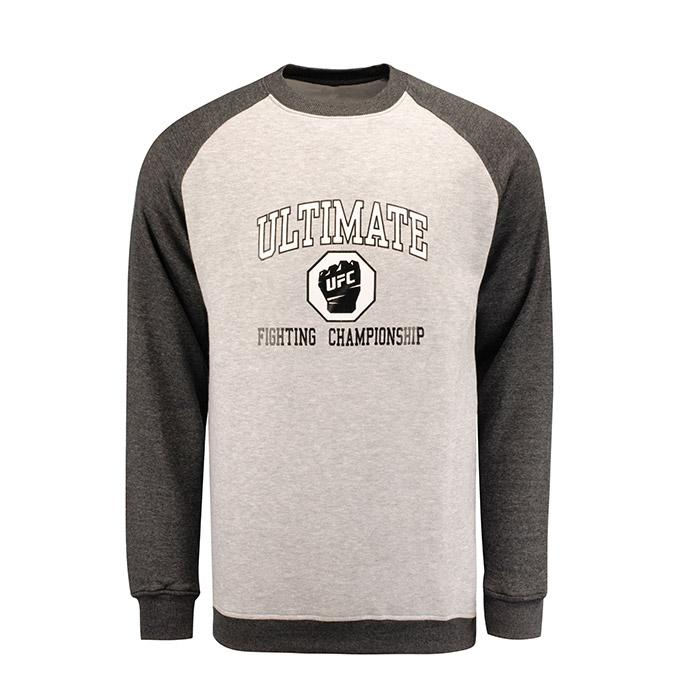 UFC Mens Classic Raglan Fleece Crew Grey/Charcoal