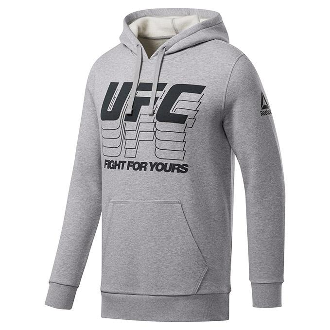 Men's UFC Reebok Fan Gear Fight Week Pullover Hoodie - Grey