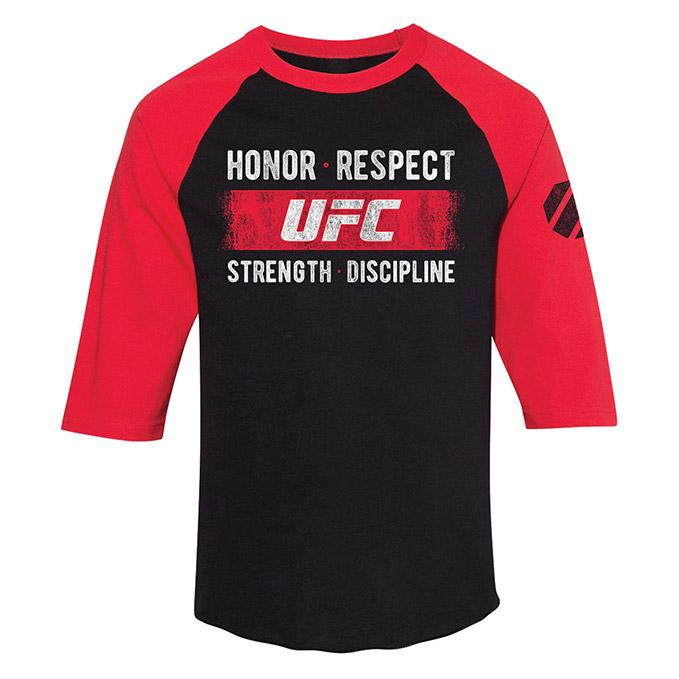 Men's UFC Honor Respect 3/4 Sleeve T-Shirt - Black/Red