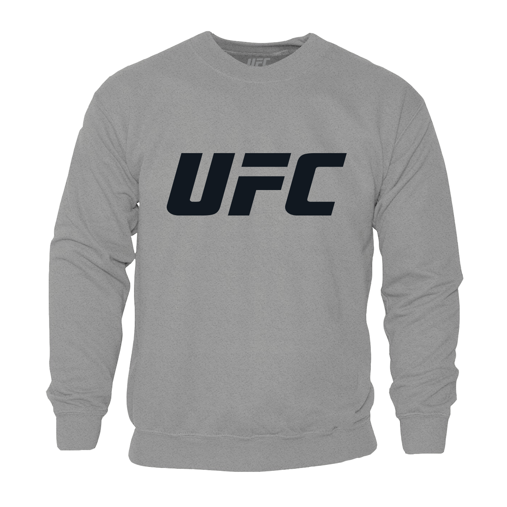 Mens UFC Classic Black Large Logo Crew Neck Sweatshirt-Grey