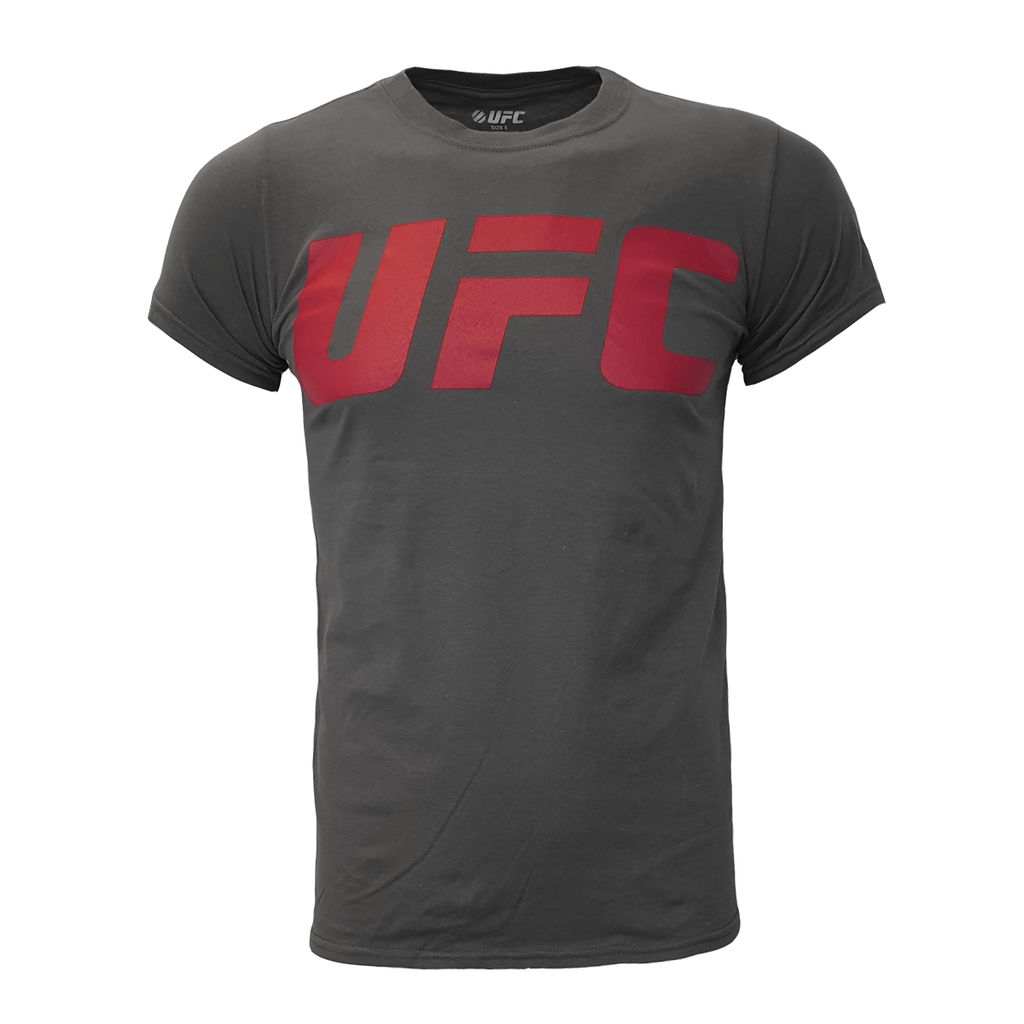 Men's UFC classic large vinyl red logo Tee - Charcoal
