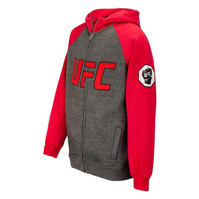 UFC Youth Contrast Raglan Full Zip Hoodie- Charcoal-Red